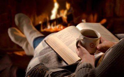 Un libro, una taza de te, una chimenea….